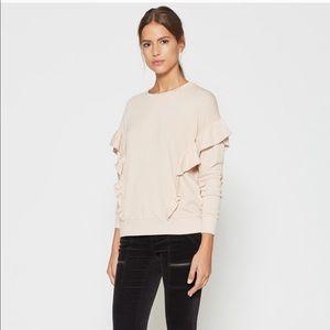 JOIE Agnia Rose Ruffle Long Sleeve Sweatshirt Top